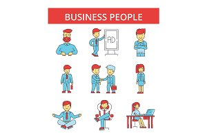 Business people illustration, thin line icons, linear flat signs, vector symbols, outline pictograms set, editable strokes