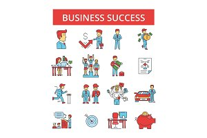 Business success illustration, thin line icons, linear flat signs, vector symbols, outline pictograms set, editable strokes