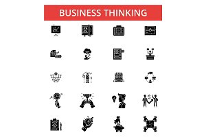 Business thinking illustration, thin line icons, linear flat signs, vector symbols, outline pictograms set, editable strokes