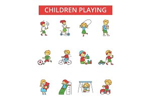 Children playing illustration, thin line icons, linear flat signs, vector symbols, outline pictograms set, editable strokes