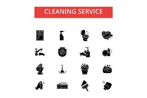 Cleaning service illustration, thin line icons, linear flat signs, vector symbols, outline pictograms set, editable strokes