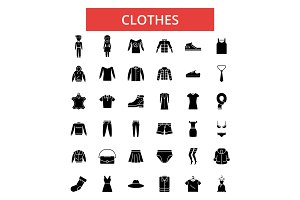 Clothes illustration, thin line icons, linear flat signs, vector symbols, outline pictograms set, editable strokes