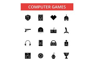 Computer games illustration, thin line icons, linear flat signs, vector symbols, outline pictograms set, editable strokes