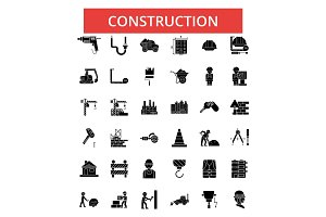 Construction illustration, thin line icons, linear flat signs, vector symbols, outline pictograms set, editable strokes