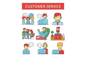 Customer service illustration, thin line icons, linear flat signs, vector symbols, outline pictograms set, editable strokes