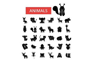 Cute animals illustration, thin line icons, linear flat signs, vector symbols, outline pictograms set, editable strokes