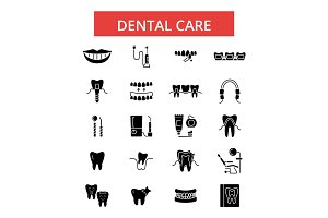 Dental care illustration, thin line icons, linear flat signs, vector symbols, outline pictograms set, editable strokes