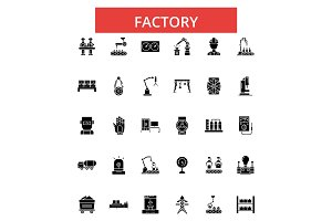 Factory illustration, thin line icons, linear flat signs, vector symbols, outline pictograms set, editable strokes
