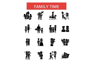 Family time illustration, thin line icons, linear flat signs, vector symbols, outline pictograms set, editable strokes