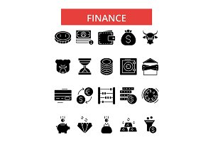 Finance illustration, thin line icons, linear flat signs, vector symbols, outline pictograms set, editable strokes