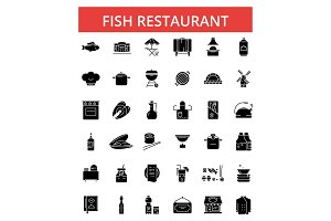 Fish restaurant barbeque illustration, thin line icons, linear flat signs, vector symbols, outline pictograms set, editable strokes
