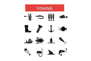 Fishing illustration, thin line icons, linear flat signs, vector symbols, outline pictograms set, editable strokes