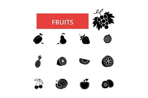 Fruits illustration, thin line icons, linear flat signs, vector symbols, outline pictograms set, editable strokes