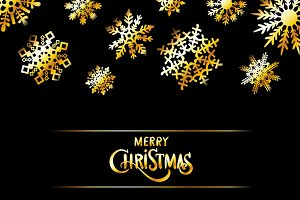 vector merry Christmas gold snow