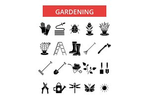 Gardening illustration, thin line icons, linear flat signs, vector symbols, outline pictograms set, editable strokes