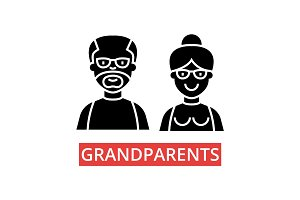 Grandparents illustration, thin line icons, linear flat signs, vector symbols, outline pictograms set, editable strokes