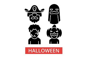 Halloween illustration, thin line icons, linear flat signs, vector symbols, outline pictograms set, editable strokes