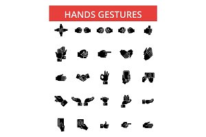 Hands gestures illustration, thin line icons, linear flat signs, vector symbols, outline pictograms set, editable strokes