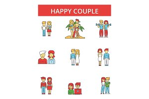 Happy couple illustration, thin line icons, linear flat signs, vector symbols, outline pictograms set, editable strokes