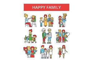 Happy family illustration, thin line icons, linear flat signs, vector symbols, outline pictograms set, editable strokes