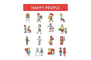 Happy people illustration, thin line icons, linear flat signs, vector symbols, outline pictograms set, editable strokes