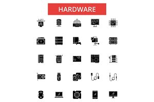 Hardware illustration, thin line icons, linear flat signs, vector symbols, outline pictograms set, editable strokes