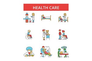 Health care illustration, thin line icons, linear flat signs, vector symbols, outline pictograms set, editable strokes