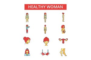 Health woman illustration, thin line icons, linear flat signs, vector symbols, outline pictograms set, editable strokes