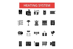 Heating system illustration, thin line icons, linear flat signs, vector symbols, outline pictograms set, editable strokes