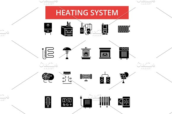 Heating System Illustration Thin Line Icons Linear Flat Signs Vector Symbols Outline Pictograms Set Editable Strokes