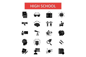 High school illustration, thin line icons, linear flat signs, vector symbols, outline pictograms set, editable strokes