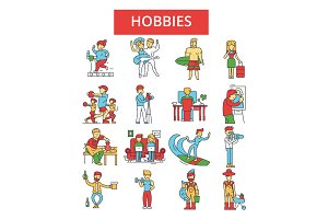 Hobbies illustration, thin line icons, linear flat signs, vector symbols, outline pictograms set, editable strokes