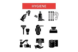 Hygiene illustration, thin line icons, linear flat signs, vector symbols, outline pictograms set, editable strokes