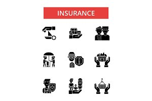 Insurance illustration, thin line icons, linear flat signs, vector symbols, outline pictograms set, editable strokes