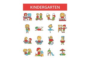 Kindergarten illustration, thin line icons, linear flat signs, vector symbols, outline pictograms set, editable strokes