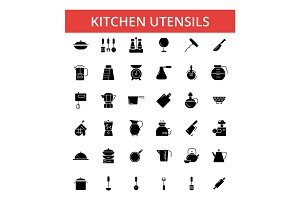 Kitchen utensils illustration, thin line icons, linear flat signs, vector symbols, outline pictograms set, editable strokes