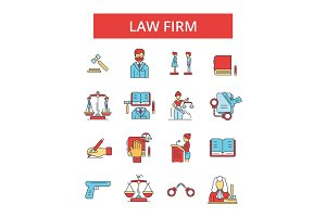 Law firm illustration, thin line icons, linear flat signs, vector symbols, outline pictograms set, editable strokes