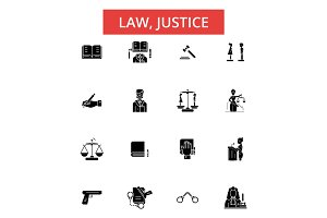 Law justice illustration, thin line icons, linear flat signs, vector symbols, outline pictograms set, editable strokes