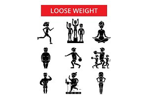 Loose weight illustration, thin line icons, linear flat signs, vector symbols, outline pictograms set, editable strokes
