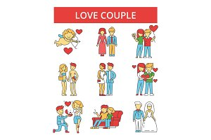 Love couple illustration, thin line icons, linear flat signs, vector symbols, outline pictograms set, editable strokes