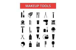 Makeup tools illustration, thin line icons, linear flat signs, vector symbols, outline pictograms set, editable strokes