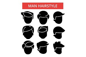 Man hairstyle illustration, thin line icons, linear flat signs, vector symbols, outline pictograms set, editable strokes