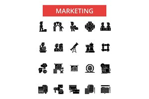 Marketing illustration, thin line icons, linear flat signs, vector symbols, outline pictograms set, editable strokes