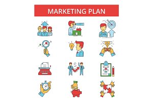 Marketing plan illustration, thin line icons, linear flat signs, vector symbols, outline pictograms set, editable strokes