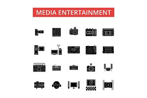 Media entertainment illustration, thin line icons, linear flat signs, vector symbols, outline pictograms set, editable strokes