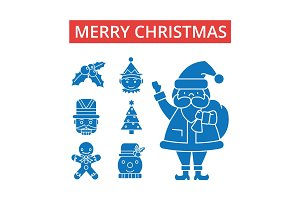 Merry christmas illustration, thin line icons, linear flat signs, vector symbols, outline pictograms set, editable strokes