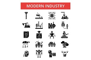 Modern industry illustration, thin line icons, linear flat signs, vector symbols, outline pictograms set, editable strokes
