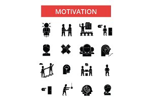 Motivation illustration, thin line icons, linear flat signs, vector symbols, outline pictograms set, editable strokes