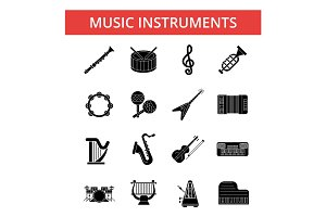 Music instruments illustration, thin line icons, linear flat signs, vector symbols, outline pictograms set, editable strokes