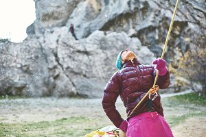 woman belayer with the rope